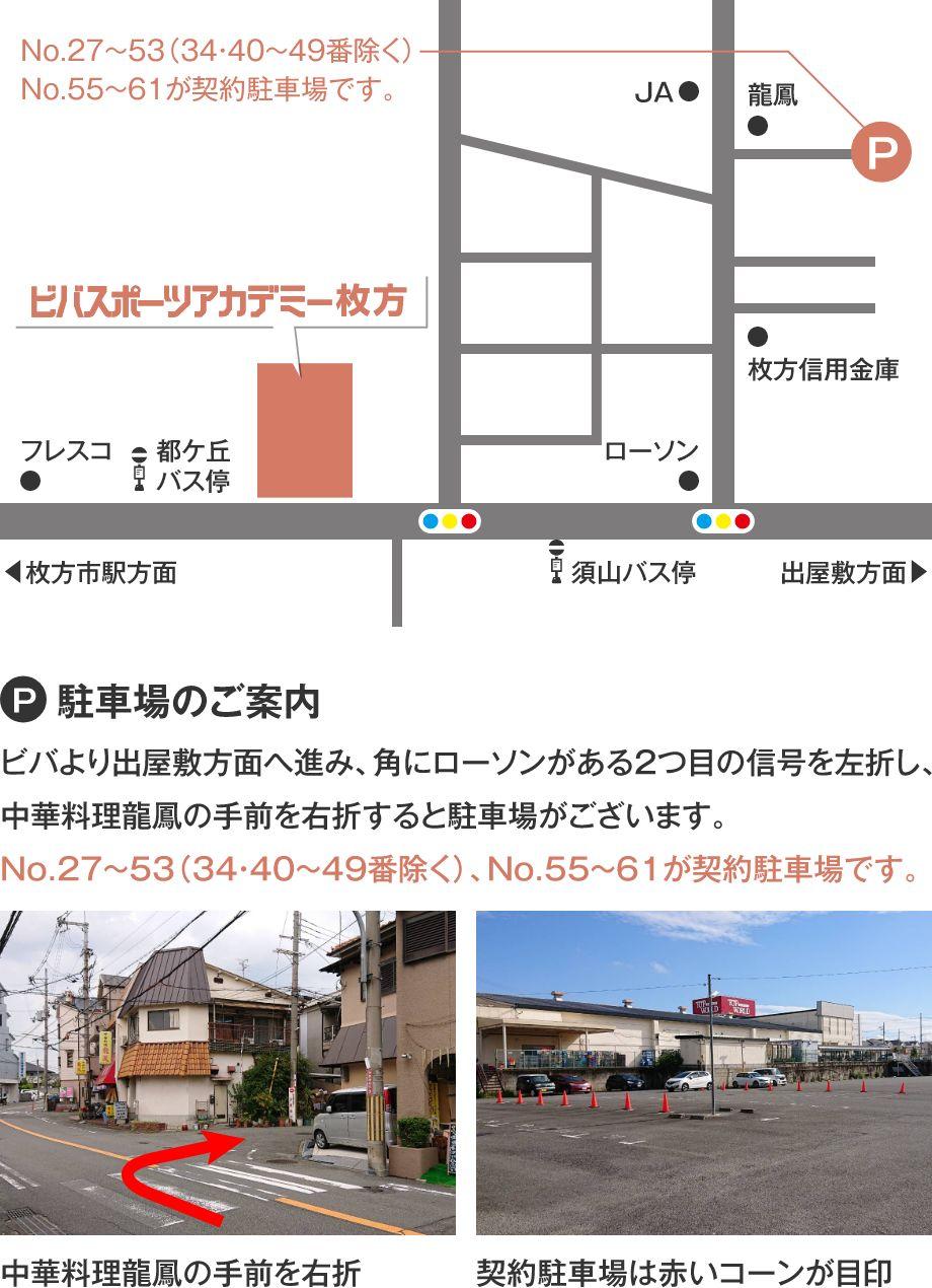 ビバスポーツアカデミー枚方 駐車場マップ